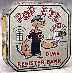 Vintage Popeye Metal Bank
