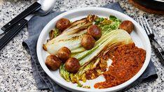 Vegetarian Meatballs with Red Pesto & Napa Cabbage — Diet Doctor Cabbage Diet, Vegetarian Cabbage, Napa Cabbage, Vegetarian Keto, Vegan, Ketogenic Recipes, Keto Recipes, Dinner Recipes, Recipes Using Tofu