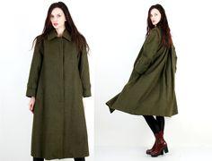 #Vintage #Wool #Khaki #Military #Flared #Minimalist #Women #Coat Size M / L by #Ramaci on Etsy