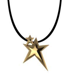 Κρεμαστό Gold Double Star Handmade Jewellery, Handmade Necklaces, Lucky Charm, Pendants, Celestial, Stars, Gold, Collection, Jewelry