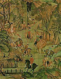 """唐代 - 李昭道 -《明皇幸蜀圖》局部   李昭道 (Li Zhaodao, 675-758),唐代畫家。擅青綠山水,兼善鳥獸、樓台、人物,畫風巧贍精緻。《明皇幸蜀圖》描繪安史之亂時唐明皇避難入蜀途中落魄的情形,在崇山峻岭中跋涉。""""初見平陸,馬皆若驚,而帝馬見小橋,作徘徊不進狀""""。"""
