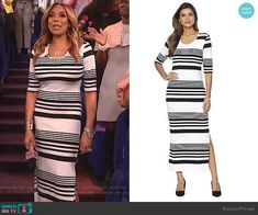 6521e028972c Wendy s black and white striped dress on The Wendy Williams Show