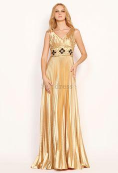 Beading Elastic Woven Satin V-Neck Apple Hourglass Mid Back Sweep Train Elegant & Luxurious Evening Dress