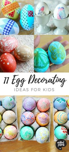 Easter egg decorating ideas for kids that are fun and creative. This list includes marbling, collage, sticker, melted crayon drawings, and more of our favorites! via Artful Parent Easter Egg Dye, Easter Art, Easter Crafts For Kids, Easter Stuff, Easter Ideas, Kid Crafts, Art Activities For Kids, Easter Activities, Creative Activities