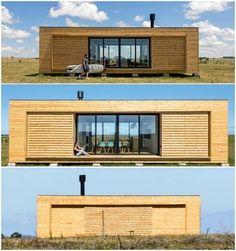 El estudio de arquitectura MAPA diseñó una casa prefabricada en Uruguay, llamada RJI. Se ubica en un sitio remoto. Está compuesta por dos módulos de madera.