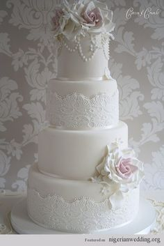 30 Stunning Vintage Lace Wedding Cake Ideas   Nigerian Wedding