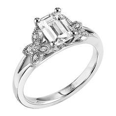 camila  Art Carved Floral Engagement Rings -Diamond engagement ring with emerald cut center stone and diamond enhanced band. Stephie like.