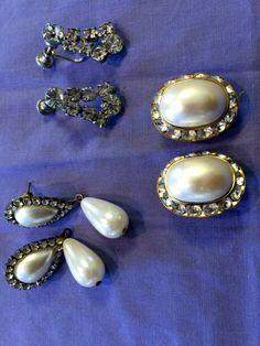 Retro Glam Earrings / Faux Diamond and by ModernaireMCMStudios