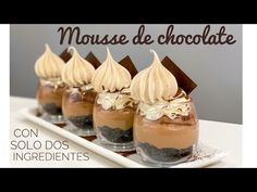 Mousse De Chocolate Con Solo Tres Ingredientes - YouTube Chocolates Gourmet, Cupcake Cakes, Cupcakes, Cheesecake Cake, Cake Decorating, Bakery, Easy Meals, Pudding, Cookies