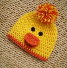 Crochet Baby Hats Duck Hat Duck Beanie Baby Easter Hat Spring Hat by SadiesCot. Crochet Beanie Hat, Crochet Baby Hats, Crochet For Kids, Crochet Men, Booties Crochet, Easter Crochet, Crochet Crafts, Crochet Projects, Baby Knitting Patterns
