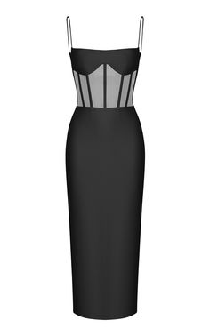 Click Product to Zoom Rasario Sleeveless Crepe Corset Midi Dress ColorBlack $1,350