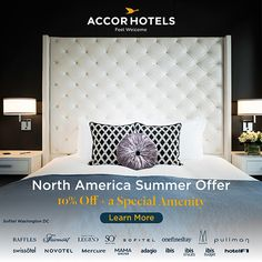 Enjoy 10% off and a Special Canada 150 welcome amenity at over 40 Hotels in North America. From New York to Vancouver, San Francisco to Hawaii, Bermuda, Barbados, Mexico and so many more. Celebrate summer and feel welcome at AccorHotels.