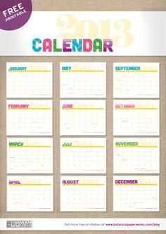 Free printable 2013 Monthly Calendar - Features vibrant colors, fun patterns and all major Canadian and U.S. holidays.