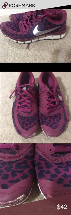 Nike free run 5.0 GUC. Maroon/navy cheetah print GUC. Only flaw is color coming off toebox as pictured. Only used indoor for gym. Bright silver swoosh. Bundle and save Nike Shoes Athletic Shoes