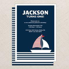 Nautical Invitation - Birthday Invitation - Baby Shower - Sail Boat Invitation - First birthday - 1st, 2nd, 3rd birthday - DIY printable. $16.00, via Etsy.