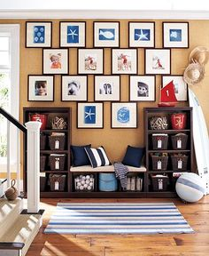 love the idea of a bench.  In the corner with cubbies and books along that wall.