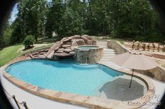 Swimming Pool ideas for someday - with slide, hot tub and sun shelf & umbrella. Small Backyard Pools, Backyard Pool Designs, Small Pools, Swimming Pool Designs, Pool Landscaping, Backyard Patio, Outdoor Pool, Pool Decks, Backyard Ideas
