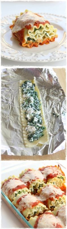 Healthy Spinach Lasagna Rolls  Maybe replace the pasta with zucchini or eggplant