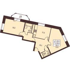 2 комнаты 64.7 м²
