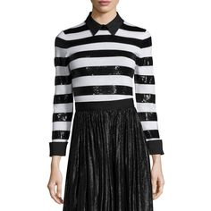 Alice + Olivia Marlee Sequin-Trim Wool Sweater ($210) ❤ liked on Polyvore featuring tops, sweaters, stripe sweater, black and white striped top, sequin stripe sweater, black and white stripe top and long sleeve sequin top