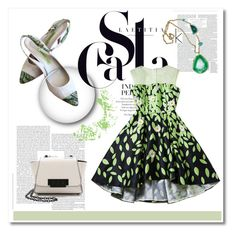 """""""Green and white"""" by alina-only21 ❤ liked on Polyvore featuring moda, Versace i ZAC Zac Posen"""