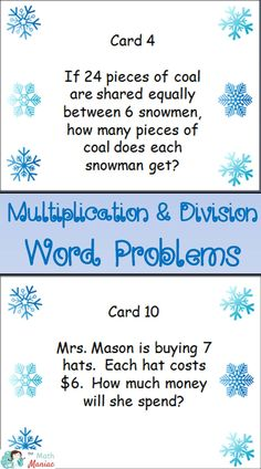 A set of 20 multiplication and division fact word problems.  Examples of each of the 9 different problem types for multiplication and division under the Common Core.  Fun winter themed problems keep kids engaged and having fun while practicing important concepts.