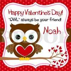 Personalized Valentine Owl Favor Tags for BOYS  DIY by ciao bambino, $6.00