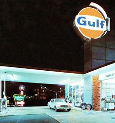 The Gulf station at Holiday City, mid-60's. The Great Sign and the corporate offices are in the background.