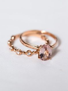 Rose Gold Morganite Engagement Ring | Oval Solitaire Wedding Ring | Rose Gold Morganite Ring [The Geneviève Ring]