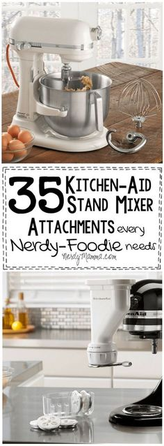 I love these 35 Kitchen-Aid Stand Mixer Attachmentswhat a great gift idea for a foodie! So easy tooyou cant go wrong. - Mixer - Ideas of Mixer Kitchen Aid Mixer Attachments, Kitchen Mixer, Toy Kitchen, Kitchen Appliances, Kitchenaid Attachments, Kitchen Racks, Kitchenaid Artisan Stand Mixer, Slate Appliances, Nice Kitchen