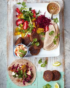 I'll be preparing my own batch of these gorgeous edible creatures tomorrow - homemade falafel, flat breads and grilled veggies.