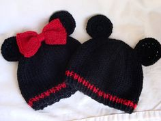 Mickey AND Minnie Inspired Baby Beanies - Hand Knit Mouse Hats for Twins - Photo Prop via Etsy