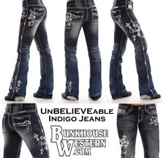 Unbelievable Indigo, Cowgirl Tuff Company, UnBELIEVEable, Crosses, Believe, Faith, Victory, Never Give Up, Barbed Wire Pocket Design, Silver Sequins, White Embroidery, Barrel Racer, Rodeo, $149.99, http://www.bunkhousewestern.com/UNBIND_p/unbind.htm