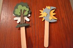 Bible Class Creations: Creation Sticks for Young Children, Put the days of creation in order games? Bible Story Crafts, Bible Crafts For Kids, Preschool Bible, Bible Activities, Bible Stories, Kids Bible, Baby Bible, Children's Bible, Preschool Activities