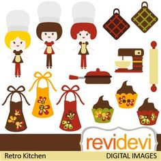 This clip art features retro kitchen and girl chefs.These cliparts are great for teachers and educators for creating their school and classroom projects such as for bulletin board, printable, worksheet, classroom decor, craft materials, activities and games, and for more educational and fun projects.You will receive:- Each clipart saved separately in PNG format, 300 dpi with transparent background.- Each clipart saved separately in JPG format, 300 dpi with white background.TERMS OF USEFor…