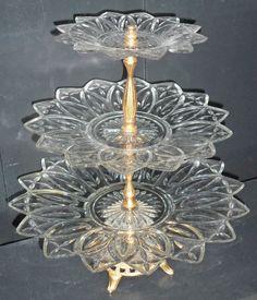 Vintage Federal Glass Petal Pattern 3 Tier Tidbit by BooksShop, $65.00