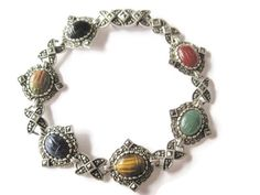Vintage Sterling Marcasite Scarab Bracelet 8 Inches - pinned by pin4etsy.com