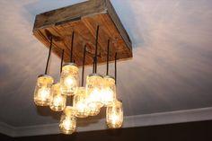 Pallet Wood Square Mason Jar Chandelier | Pallet Furniture Plans