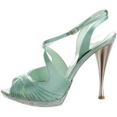 Pre-owned Rene Caovilla Satin Multistrap Sandals ($175) ❤ liked on Polyvore featuring shoes, sandals, green, strap sandals, embellished sandals, platform sandals, satin shoes and green satin shoes