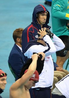Michael Phelps of the United States prepares ahead of the Men's 4 x 100m Medley…