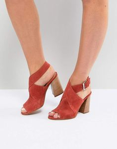 b4a537502438 ASOS TAKOTA Suede Heeled Sandals Orange Heeled Sandals
