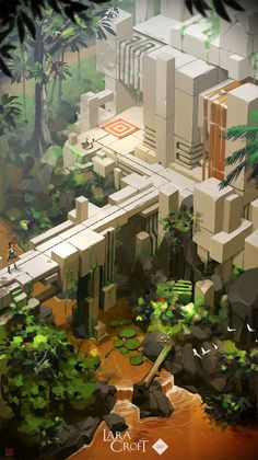 Lara Croft Go Concept Art by Thierry Doizon