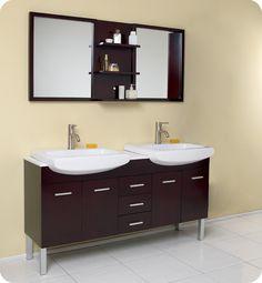 Fresca Espresso Modern Double Sink Bathroom Vanity w/ Mirror fixture & Faucets