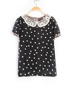 #SheInside Black Polka Dot Lace Lapel Short Sleeve Chiffon Shirt