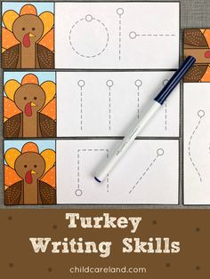 Turkey writing skills cards for pre-writing and fine motor development. Early Learning Activities, Classroom Activities, Pre Writing, Writing Skills, Pre School, Fine Motor, Card Stock, Turkey, Printables