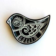 Ceramic Bird Dish Black and White Hand Painted Plate by sewZinski