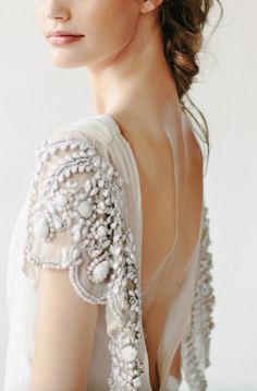 backless wedding gown, beaded detail, bridal gown, back detailing Bridal Musings, Best Wedding Dresses, Wedding Styles, Wedding Gowns, Grecian Wedding, Wedding Hair, Delicate Wedding Dress, Bridal Hair, Bridesmaid Dresses