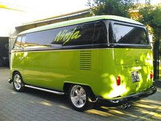 super clean lime green panel vw bus ☮ #VWBus ☮re-pinned by www.wfpcc.com