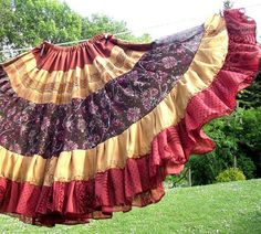 Gypsy skirt tribal belly dance skirt brown tiered skirt by luloah, £42.00