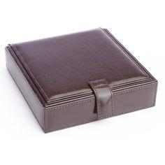 Royce Leather Cufflink and Watch Travel Case Chestnut Brown - 921-CN-AR
